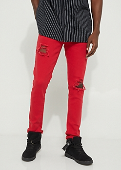 Red Flex Blown Out Knee Skinny Pants