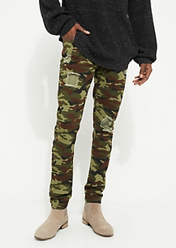 Camo Flex Blown Out Knee Skinny Pants