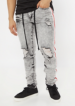 Gray Acid Wash Side Striped Jogger Jeans