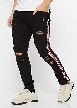 Supreme Flex Black Side Striped Ripped Skinny Jeans