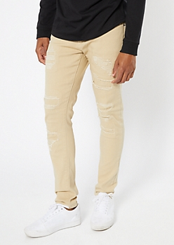 Supreme Flex Sand Distressed Skinny Jeans