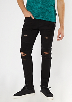 Supreme Flex Black Distressed Moto Skinny Jeans