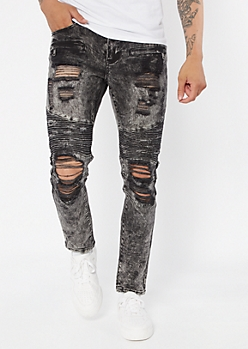 Supreme Flex Black Acid Wash Distressed Moto Skinny Jeans