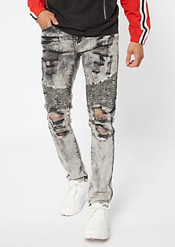 Supreme Flex Gray Acid Wash Distressed Moto Skinny Jeans