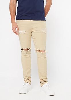 Supreme Flex Sand Ripped Skinny Jeans