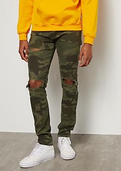 Flex Camo Print Ripped Knee Skinny Jeans