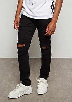 Supreme Flex Black Ripped Knee Moto Skinny Jeans