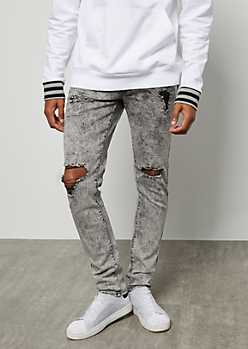 Flex Gray Acid Wash Ripped Knee Skinny Jeans