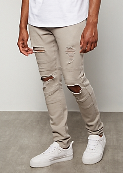 Supreme Flex Gray Moto Distressed Skinny Jeans