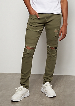 Supreme Flex Olive Ripped Knee Skinny Jeans