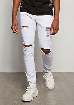 Supreme Flex White Ripped Knee Moto Skinny Jeans