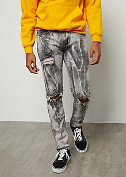 Flex Gray Bleach Wash Ripped Knee Skinny Jeans