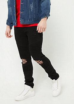 Black Double Moto Ripped Skinny Jeans