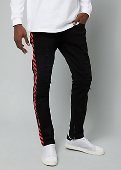 Flex Black Wash Side Striped Destroyed Skinny Jeans