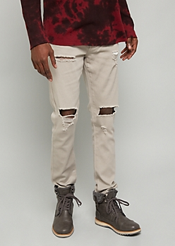 Flex Light Gray Ripped Knee Skinny Jeans