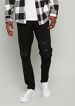 Flex Black Ripped Faux Leather Moto Skinny Jeans
