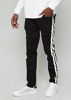 Flex Black Side Striped Distressed Skinny Jeans