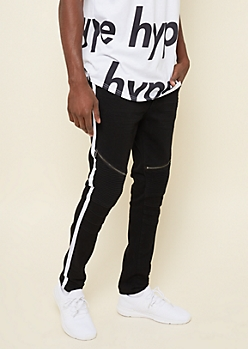 Black Varsity Stripe Pattern Skinny Moto Jeans