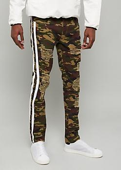 Flex Camo Print Side Striped Distressed Skinny Jeans