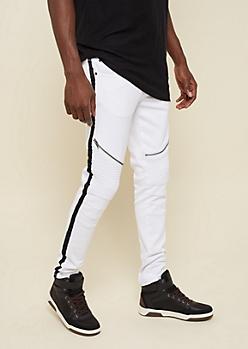 White Varsity Stripe Pattern Skinny Moto Jeans