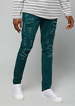 Flex Hunter Green Ripped Moto Skinny Jeans