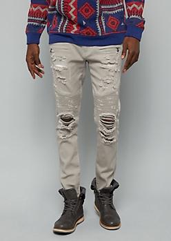 Flex Gray Ripped Zip Moto Twill Skinny Pants