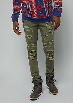 Flex Olive Ripped Zip Moto Twill Skinny Pants