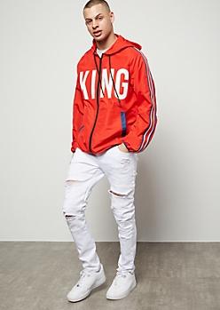 Flex White Distressed Moto Stitched Skinny Jeans