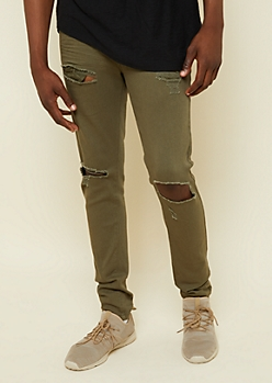Flex Olive Ripped Knee Skinny Jeans
