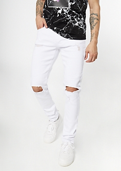 Supreme Flex White Ripped Knee Skinny Jeans