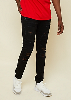 Flex Black Distressed Skinny Moto Jeans