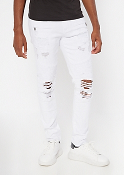 Flex White Distressed Skinny Moto Jeans