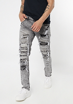 Supreme Flex Black Ripped and Repaired Skinny Jeans