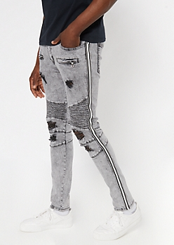 Gray Ripped Moto Side Striped Skinny Jeans