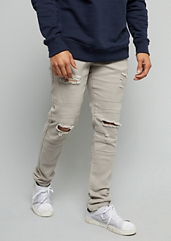 Flex Gray Distressed Moto Skinny Jeans