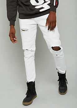 Flex White Ripped Knee Moto Stitched Skinny Jeans