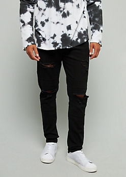 Flex Black Distressed Skinny Jeans
