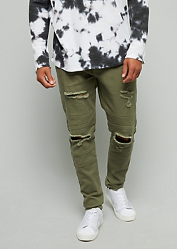 Flex Olive Distressed Skinny Jeans