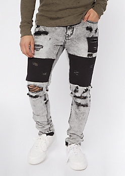 Gray Distressed Patch Skinny Jeans