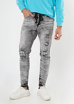 Gray Acid Wash Bandana Rip Repair Skinny Jeans