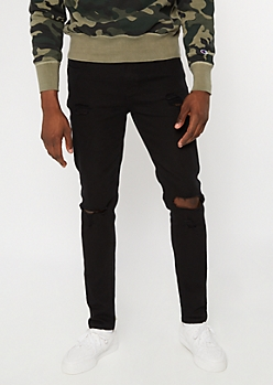 Flex Skinny Fit Frayed Black Jeans