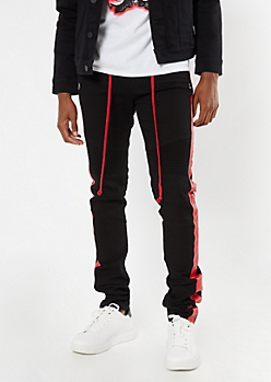Supreme Flex Black Side Striped Stacked Skinny Jeans