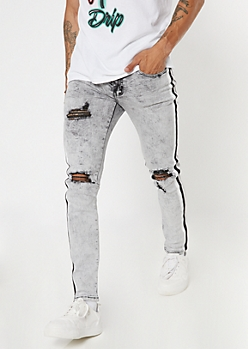 Supreme Flex Gray Acid Wash Side Striped Super Skinny Jeans