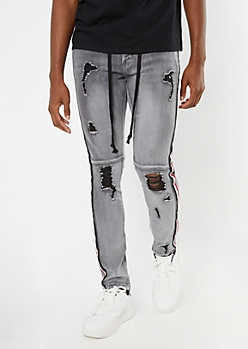 Supreme Flex Gray Wash Ripped Side Striped Super Skinny Jeans