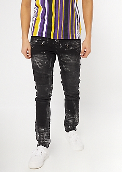 Supreme Flex Black Paint Splattered Zip Moto Skinny Jeans