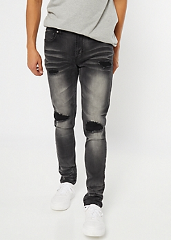 Supreme Flex Black Repaired Skinny Jeans