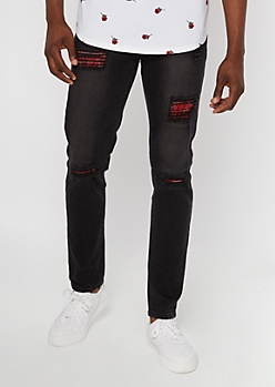 Supreme Flex Black Bandana Patch Skinny Jeans