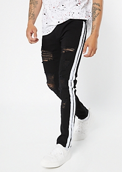 Supreme Flex Black Side Striped Distressed Skinny Jeans