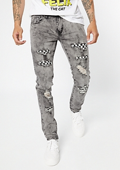 Supreme Flex Gray Acid Wash Checkered Print Skinny Jeans