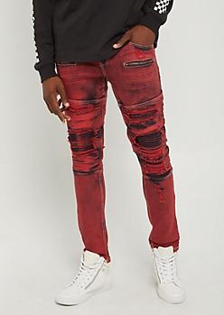 Flex Red Destroyed Moto Skinny Pants